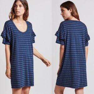 Current/Elliott Teal Stripe Ruffle Roadie Dress